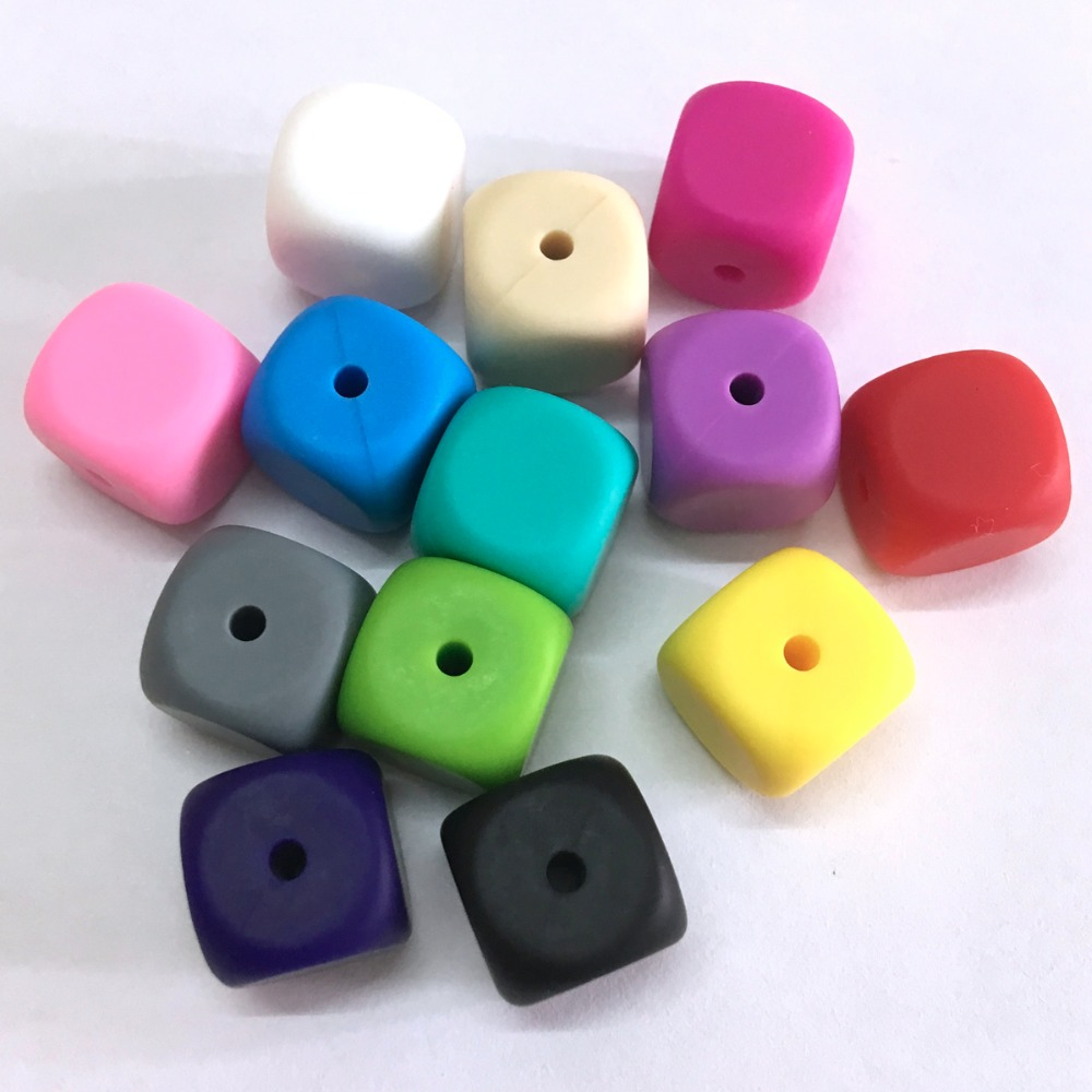 13mm square silicone teething beads