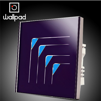 Smart home Wallpad Purple 4 gangs 2 way LED light switch touch 110V~220V, Luxury Crystal Glass touch wall switch, Free Shipping<br>