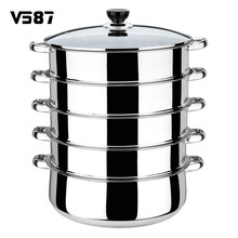 5 Tier Stainless Steel Steamer Saucepan Pot 30cm Cook Tool INDUCTION Friendly Cookware Multi-layer Multi-function Large Capacity(China)
