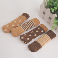 4 pcs/set Knitted Dining Table Chair Leg Socks Stool Mat Protective Case Chair Booties Stool Socks Protective Sleeve(China)
