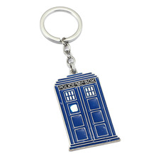 Fashion Movie Dr Who Series Keyring Pendant Jewelry Phone Booth Call Police Box Letter Doctor Who Logo Keychain For Key Holder(China)
