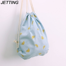 JETTING Girl Drawstring Backpack Cotton&Linen Cartoon Printed Sackpack Women Beach Bag Summer Fresh Mini Bag Kawaii Korean Style
