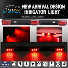KEYECU Red Clearance ID Bar Marker Lights 3 Light 9Led Trailer Sealed Stainless Steel Used for trucks and trailers(China)