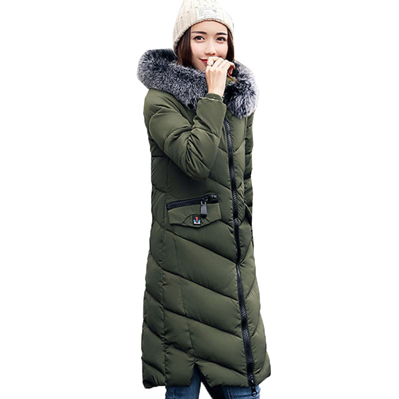 2017 Fashion Winter Down Cotton Outerwear Warm Faux Fur Hooded Long Sleeve Zipper Pockets Women Casual Long Coat Jacket ParkasÎäåæäà è àêñåññóàðû<br><br>