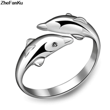 Silver double dolphin female models love lovely wild fashion jewelry ring opening retro jewelry factory wholesale(China)