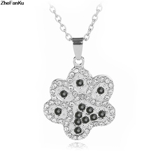 Silver Crystal Animal Pet Memorial Necklaces Cat Dog Puppy Paw Print Heart Shape Pendant Necklace Rhinestone Jewelry(China)