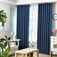 Urijk 1PC Only Full Blackout Curtain Blue Solid Color Curtains For Living Room Faux Linen Blackout Drapes Modern Bedroom Curtain