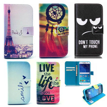 Fashion Print PU Leather Cell Phone Case Flip Cover For Samsung Galaxy Ace 4 G313 G318 Lite SM-G313H / G318H /Trend 2 G313HN