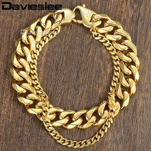 Buy Davieslee Curb Cuban Box Wheat Link Mens Bracelet Chain Double Layer Stainless Steel Gold Silver Tone 10-14mm DDBM01B for $7.90 in AliExpress store