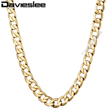 4/10mm Mens Boys Link Chain Curb Gold Filled Necklace GF High Quality Gift Customize Size Jewelry LGNM48(China)