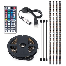 Colour Change USB Power 4PCS 50CM Non Waterproof RGB LED Strip Light 5050 SMD Computer TV PC Backlight Light Remote Control(China)