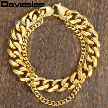 Davieslee Curb Cuban Box Wheat Link Mens Bracelet Chain Double Layer Stainless Steel Gold Silver Tone 10-14mm DDBM01B(China)