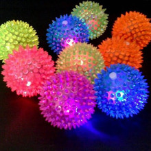 1pc Flashing Light Puppy Dog Cat Pet Hedgehog Rubber Ball Bell Sound Ball Fun Play Toy Led Light Squeaky Chewing Balls(China)