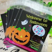 Hot Sale 100pcs Halloween Candy Bag Party Plastic Halloween Bags Pumpkin Pattern Cookies Candy Biscuit Gift Treat Trick Bags(China)