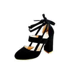 Women Sexy Artificial Suede Thick High Heeled Shoes Summer Party Lace up Sandals