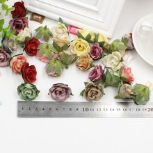 30pcs Rose Tea Artificial silk Flower Heads small Multicolor Scrapbooking Flower For Home Wedding Party & Wedding Car Decoration