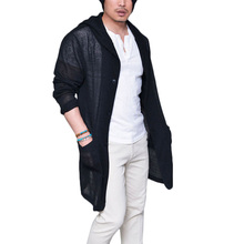Men's Long Pull Cardigan Long Sleeve Knitting Solid Black Grey Thin Slim With Pockets Cardigans Sweater(China)