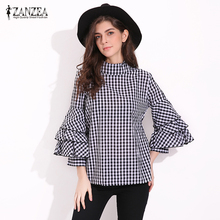 New ZANZEA Women Tops 2017 Sexy Ruffles Sleeve Turtle Neck Shirts Casual Plaid Print Blouses Loose Cotton Blusas Plus Size(China)