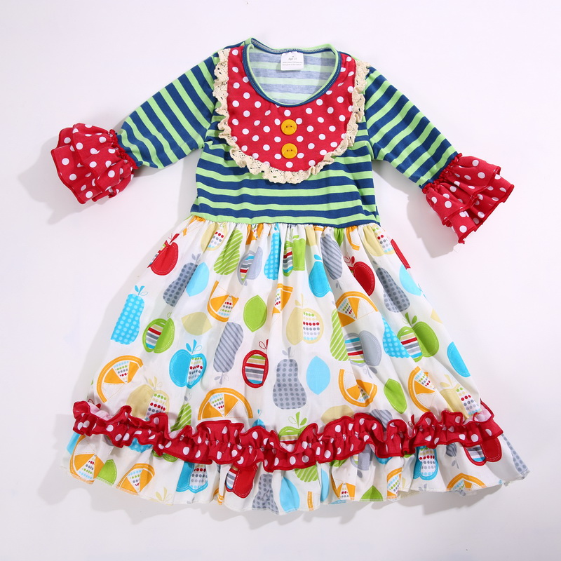 summer and autumn Multicolour printed Dress 100% cotton with Bib Ruffle trim Infants and Children Fashion clothing<br>