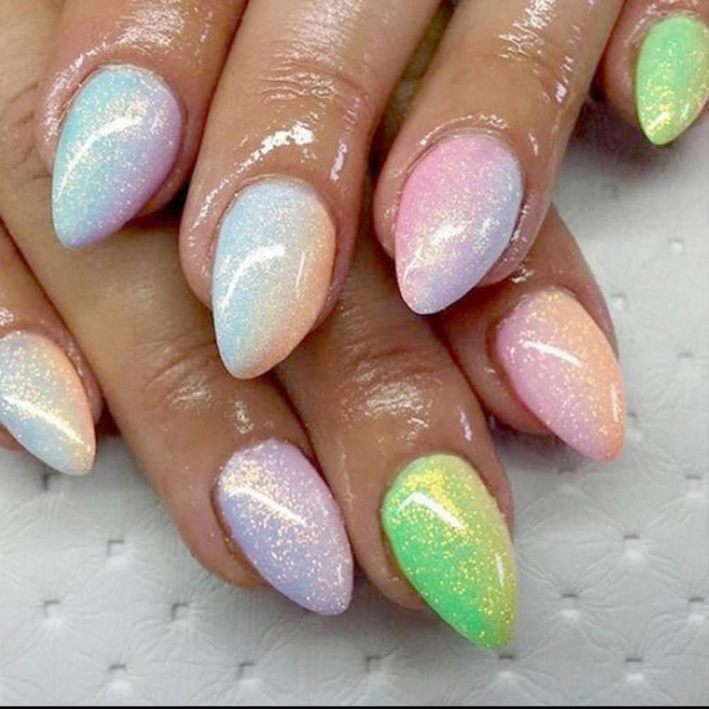Цветная пыль на ногтях фото