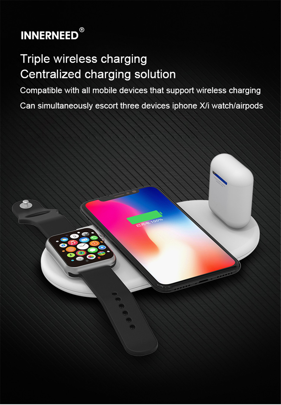 !ACCEZZ 10W 7.5 Fast Wireless Charger 3 in 1 For iphone 8 Plus X For Apple AirPods For Samsung S7 S8 S9 Mobile Phone Chargers (1)