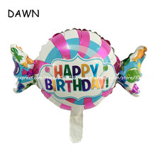 50pcs/lot Cheap HAPPY BIRTHDAY Foil Mylar Balloons Candy Foil Balloons For Kids Birthday Party Decoration Children GiftHot(China)