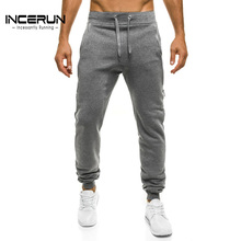 INCERUN Autumn Solid Plain Sweatpants Men Brand Clothing Joggers Workout Sweat Pants Male Long Slacks Casual Harem Trousers 2XL(China)