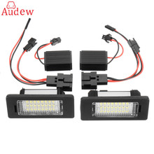 2Pcs Car LED License Number Plate Light Canbus NO error Decoder For Audi A4 A5 Q5 S5 for TT/VW Passat(China)