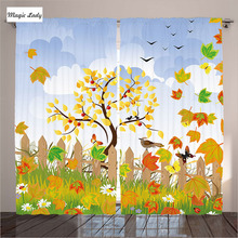 Curtains Rustic Autumn Fence Happy Village Traditional Ethnic Wood Living Room Bedroom Rooster Rural Tree Blue 290x265 cm home