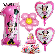 6pcs/lot Pink Blue Mickey Minnie Birthday Decoration Number Foil Balloon Baby Toys 1th birthday Party Globos Air Balloons