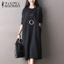 Plus Size M-5XL 2017 ZANZEA Women Crew Neck Long Sleeve Loose Pockets Autumn Casual Solid Vintage Long Shift Dress Midi Vestido