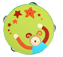 Baby Wooden Children Drum Rattles Toy Tambourine Gift 6 inches Hand Tambourine Children's toys(China)