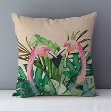 Flamingo cushion for couch bedding home decorative pillows 45x45cm summer style Modern art drawings tropical plant printed QXA3(China)