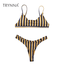 Buy Sexy Brazilian Bikinis Women Yellow Striped Leopard Swimwear Beach Bathing Suit Push Bikini Set Halter Top Bandage Swimsuits