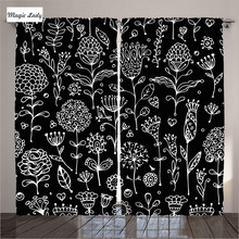 Curtains Black Living Room Bedroom Flower Floral Modern Decoration Drawing Collection Artistic White