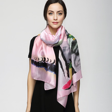 180cm*90cm Women 2017 New Fashion Euro Design Classical Brand Hand Draw Inked Flower Printed Long Silk Scarf Big Shawl YAU001(China)