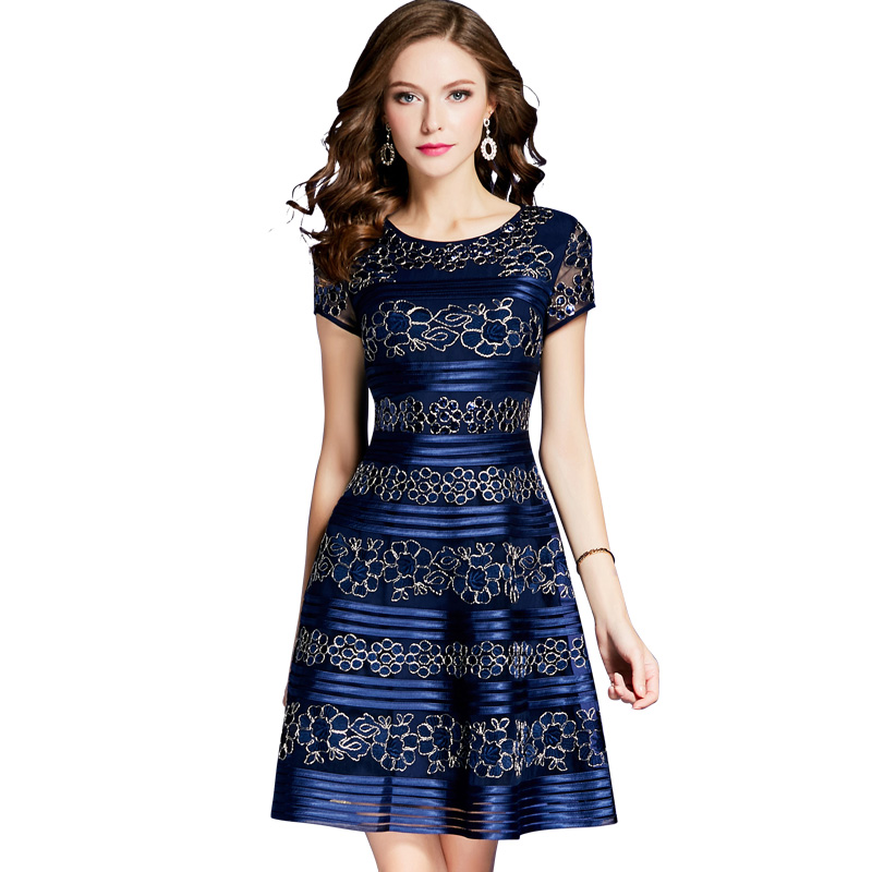 New Sequins Flower Embroidery Women Dress Elegant O-Neck Short Sleeve A-Line Dresses