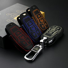 key case for lincoln KMZ/MKC 2014 Genuine Leather Car Key Cover wallet for ford escort 2015 2016 taurus(China)