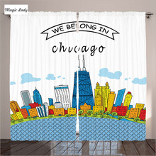 Modern Curtains Designs Living Room Bedroom Chicago Skyline Cartoon USA American Art Blue White Red 290x265 cm home