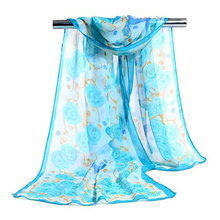 Fashion Women Butterfly Flower Long Chiffon Georgette Soft Wrap Shawl Scarf(China)