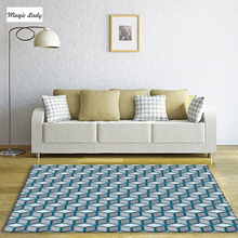 Carpet For Living Room Bedroom Geometric Squares Cubes Straight Stripes Weaves Figures Decoration Smooth Faint Green Gray Beige