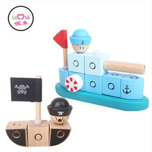 [Umu] Blocks Educational Wooden Toy Naval Vessel&sea Rover Toys For children Christmas Water based paint Best Gift For Children(China)