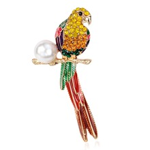 High Fashion Crystal Enamel Imitation  Pearl Parrot Bird Brooches Valentine's Day Accessories Costume Brooches