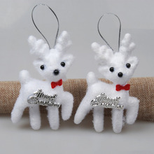 2Pcs/bag White Cute Kawaii Foam Christmas Bear Deer For Christmas Tree Pendant Decoration Kids Gift Home Decor