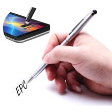 2 in 1 Capacitive Touch Screen Stylus Pen Ballpoint Pen End For Ipad Iphone Tablet Mobile Phone Android IOS Windows Touchpen(China)