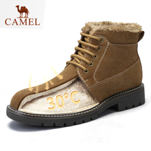 CAMEL Men's Winter Boots 와 Warm 퍼 Genuine Leather England TideTooling Boot 패션 Ankle Boots Casual Shoes Men(China)