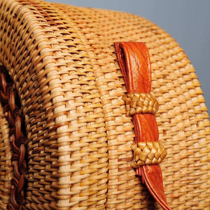 Women Straw Bags Female Round Beach Bag Knitted Lady Bohemian Vintage Rattan Shoulder Bag Handmade INS Popular Weave Bag SS3125 (3)