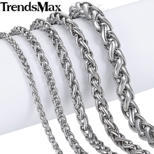 Trendsmax Custom Men's Chain Jewelry Wheat Link Silver Color Stainless Steel Necklace 3/4/5/6/mm KNM11(Hong Kong)