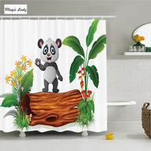 Shower Curtain Cartoon Bathroom Accessories Baby Panda Tree Trunk Tropical Flower Leaves Green Brown 180*200 cm