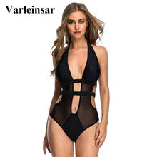 Varleinsar 2017 Black mesh splicing halter trikini sexy one piece swimsuit swim suit for women swimwear female bathing suit V140